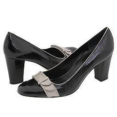 Enzo Angiolini Totiana Black/Light Grey Patent Pumps/Heels