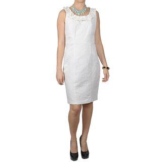 Sangria Womens Beaded Neckline Filigree Pattern Sleeveless Dress