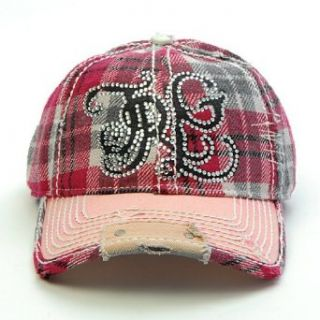 True Religion Chain Logo Rhinestone Hat Cap (Wine