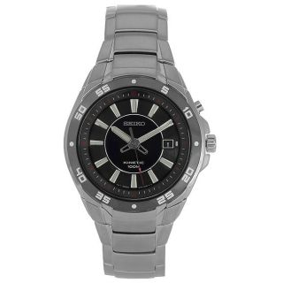 Seiko Mens Kinetic Black Dial Stainless Steel Watch