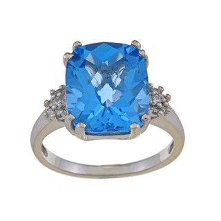14k White Gold Blue Topaz and 1/10ct TDW Diamond Ring (G H, SI1 SI2