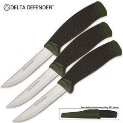Delta Defender Combat Knife OD Green 3 Pack: Sports