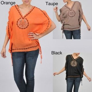 Simply Irresistible Womens Poncho Style Embroidered Blouse