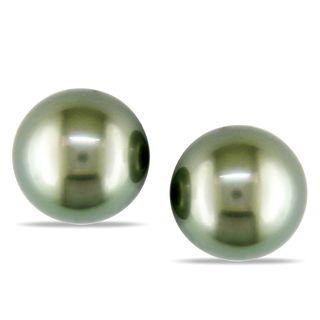 Miadora 14k White Gold Tahitian Pearl Stud Earrings (9 10 mm