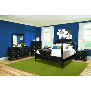 Vaughan Chelsea Black Conemporary 4 piece Queen Bedroom Se