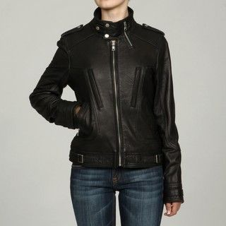 Collezione Womens Black Faux Leather Stand Collar Moto Jacket
