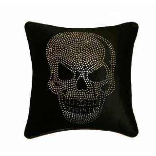 JAR Designs Large Skull Black Throw Pillow