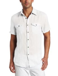 Kenneth Cole Mens Linen Solid Shirt, White, Small