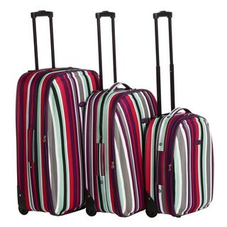 Chicane 3 piece Striped Expandable Hardside Luggage Set