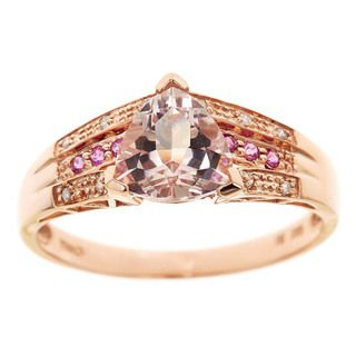 yach 14k Rose Gold Morganite, Pink Sapphire and Diamond Ring