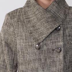 Focus 2000 Womens Double Breasted Brown Tweed Coat
