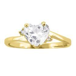 10k Gold April Birthstone White Topaz/ Diamond Heart Ring