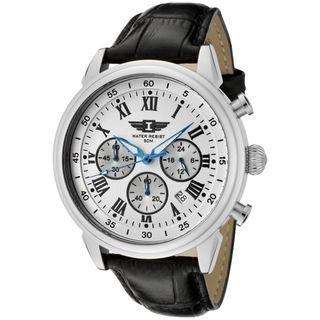 by Invicta Mens Black Leather Watch
