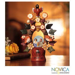 Ceramic Christmas Tree of Life Nativity Scene Figurine (Peru