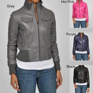 Knoles & Carter Womens Plus Size Veronica Bomber Leather Jacket