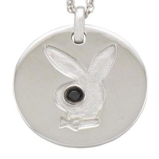 Playboy Sterling Silver Black Diamond Accent Bunny Necklace