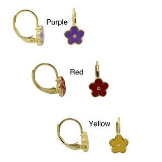 18k Gold Overlay Large Enamel Flower Leverback Earrings