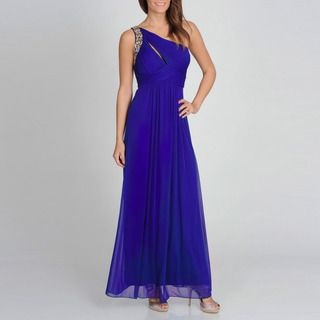 Ignite Evenings Womens Royal Blue One shoulder Evening Gown
