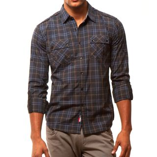 191 Unlimited Mens Black Plaid Two pocket Shirt
