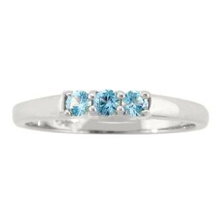 10k Gold Bold Designer March Birthstone Sky Blue Topaz 3 stone Ring