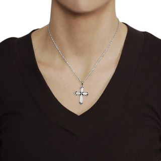Journee Collection Silvertone Black and White CZ Cross Necklace