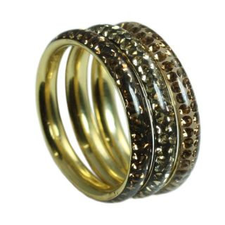 Goldplated Sterling Silver Stackable Multi colored Crystal Rings (Set