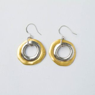 Hand crafted Gold and Silver Hammered Double Hoop Earrings (China