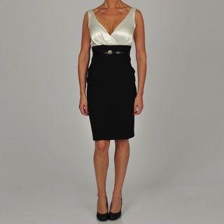 Tiana B Womens Ivory/Black Belted Sheath Dress