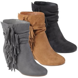 Hailey Jeans Co. Womens Galaxy Slouchy Fringed Wedge Boots