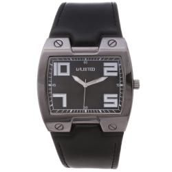 Unlisted by Kenneth Cole Mens Black Leather Strap Watch