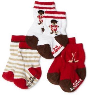 Robeez Baby boys Infant 3 Pack Hockey Walrus Socks, Red
