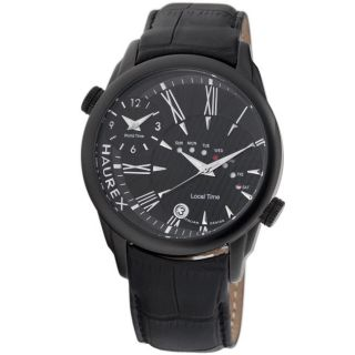 Haurex Italy Mens Big Fly Black Dual Time Watch