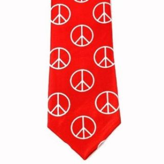 White Peace Signs On Red Thin Mens Neck Tie Clothing