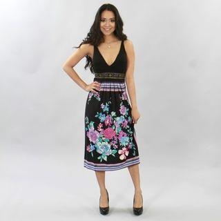 Meetu Magic Womens Black Vibrant Floral Dress