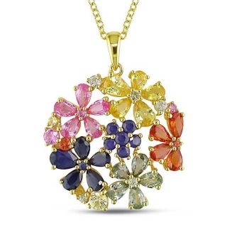 Yellow Silver Multi colored Sapphire Flower Necklace