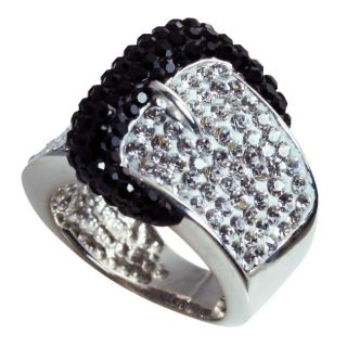Sterling Silver Black and White Crystal Belt Buckle Ring