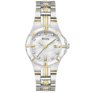 Bulova Womens Two Tone Stainless Steel 8 Diamond Dial Watch