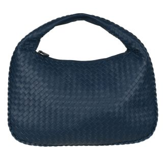 Bottega Veneta Small Navy Blue Leather Hobo Bag