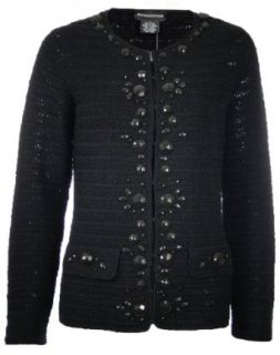 Sutton Studio Womens Embellished Crochet Cardigan Misses