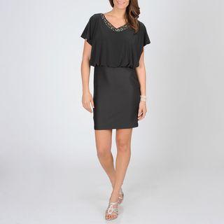 Cachet Womens Concrete Cold shoulder Blouson Evening Dress