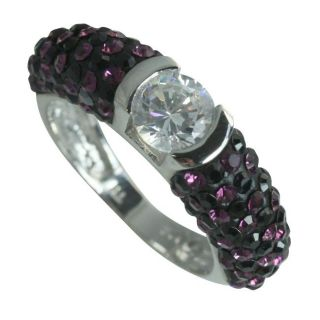 Sterling Silver Clear, Purple and Black Crystal Ring