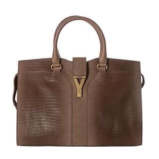 Yves Saint Laurent Cabas ChYc Medium Tan Embossed Leather Tote Bag