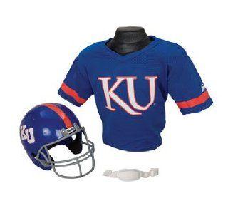 Kansas Jayhawks KU NCAA Football Helmet & Jersey Top Set