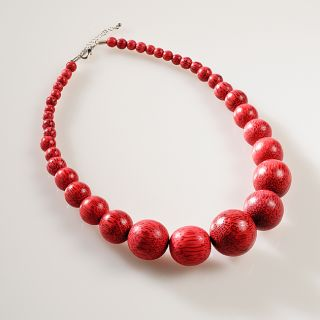Creative Design Group Blush Red Wood Bead Necklace