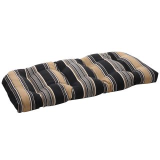 Pillow Perfect Black/ Tan Striped Tufted Outdoor Wicker Loveseat