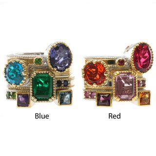 Michael Valitutti Two tone Multi Gemstone Stackable Ring Set