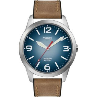 Timex Mens Weekender Casual Brown Leather Strap Watch