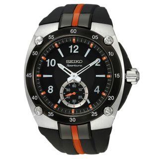 Seiko Mens Stainless Steel Sportura Quartz Black Dial Strap Watch