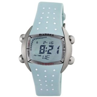 Diadora Womens Green Dial Light Blue Rubber Digital Date Watch
