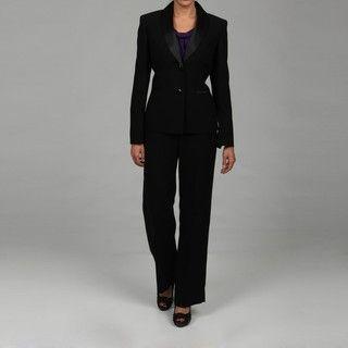 Le Suit Womens Black 2 button Pant Suit